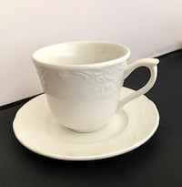 Set of 6 Johnson Brothers RICHMOND WHITE cups and saucers.