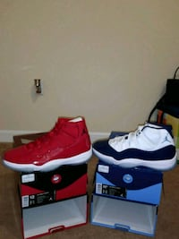 two unpaired red and black Air Jordan 11 shoes