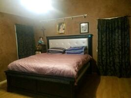 King size bed frame with dresser and siding