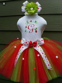 white and red tutu skirt and printed top null