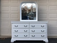 White Solid Wood 8 Drawer Long Dresser With Mirror  Manassas, 20112