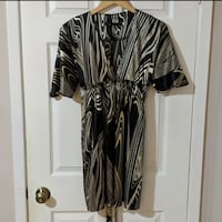 Silk low v neck kimono dress S