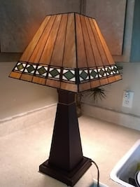brown and black table lamp