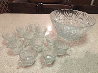 Clear cut glass punch bowl set
