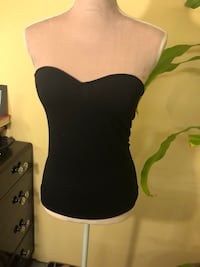 Black Tube Top Built in Padded Bra Size Small