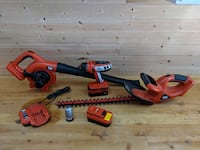 drill, blower, hedge trimmer, batteries and charge Houston