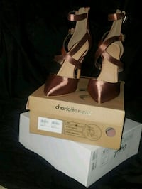 pair of brown leather open-toe heels Portland, 97266
