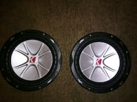 two black-and-gray Kicker subwoofers Tulsa, 74128