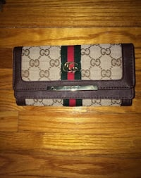 black and brown monogram Gucci leather bifold wallet Mississauga, L5A 3Y1