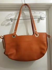 women's orange leather tote bag