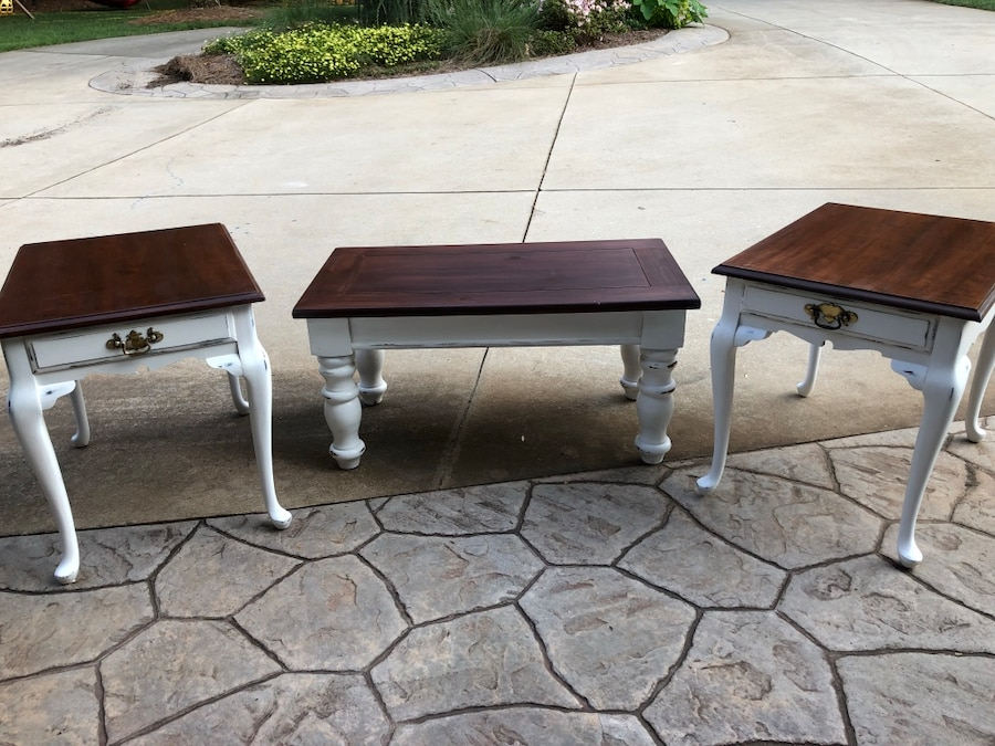 Used, two brown wooden side tables for sale  Mooresville