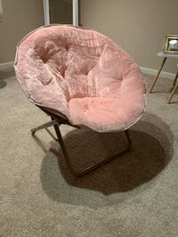 Faux Fur Saucer Pink Chair with Metal Rose Gold Frame Washington, 20001