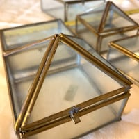 Glass and brass mini boxes, set of 5