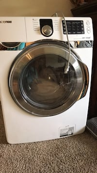 white and gray Samsung front-load clothes washer not working good for parts   Chapel Hill, 27516