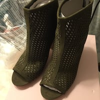 Women's pair of olive open-toe boots Calgary, T3K 5M4