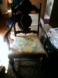 black wooden framed white and green floral padded armchair Kenner, 70062
