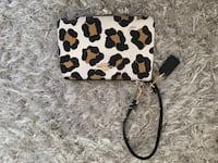 white, brown, and black cheetah pattern leather wristlet