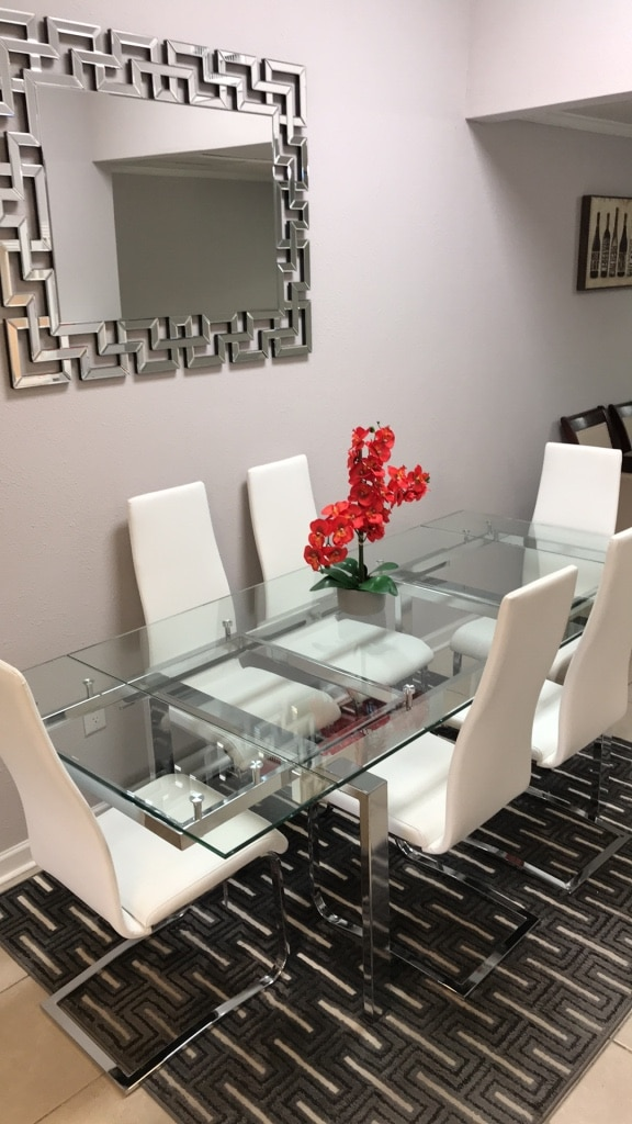 Justable Glass And Chrome Dining Room Table