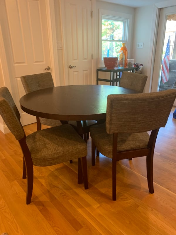 48 inch round table and 6 chairs, table is 30 1/2 inches high and chairs are 37 inches high. a5d6c093-475a-4bfc-98bb-eec22acfb013