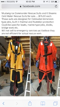 5 Mustang Ice Commander Rescue Suits and 6 Stearns Coldwater Rescue Suits TORONTO
