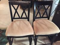 two black wooden framed beige padded chairs Severn, 21144