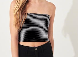 Black and white tube top.