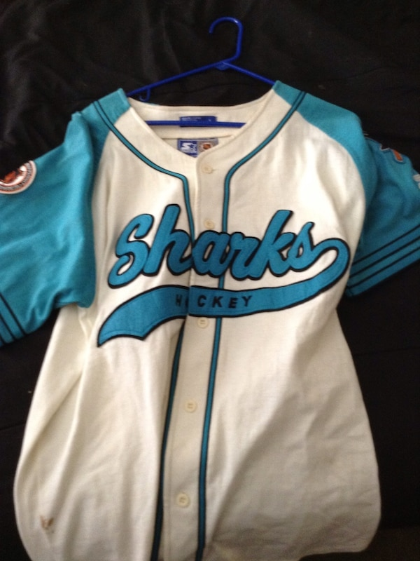 official photos e1c67 329af White and blue san jose sharks jersey