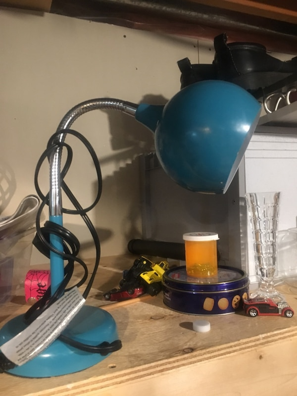 blue and black table lamp