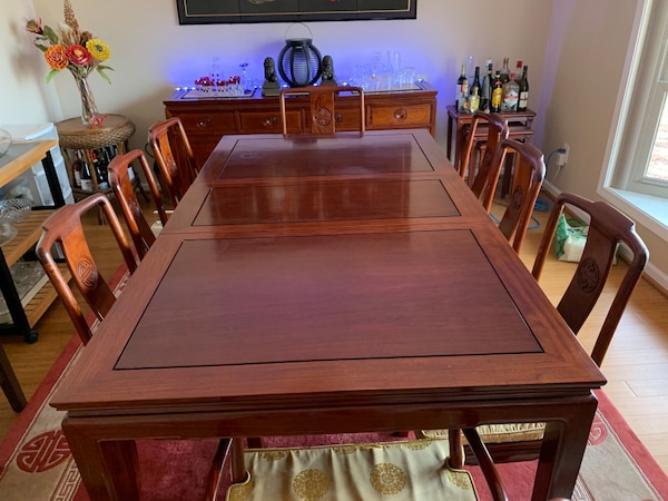 Beautiful Oriental Rosewood Dining Table W Two 18 Extension Leaves And 8 Chairs Made Of Solid In The Chinese Ming Style Each 2 Arm