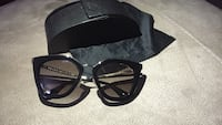 black framed oversized sunglasses with pouch