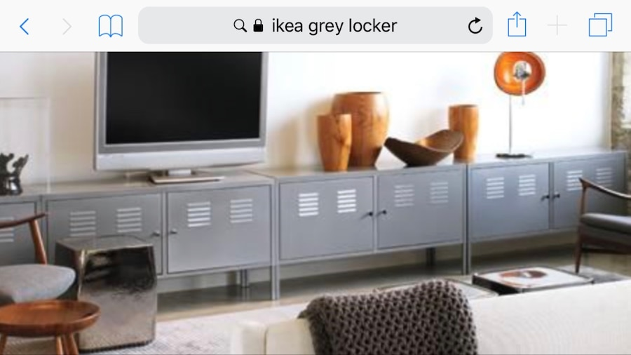 Ikea Credenza Tv Stand : Used grey ikea locker credenza storage cabinet for sale in