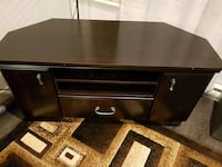 black wooden single pedestal desk t.v stand  Surrey, V4N 6L7