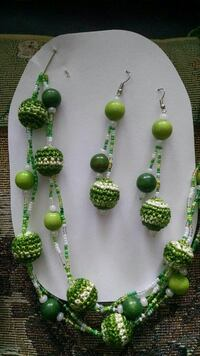 green-and-white beaded necklace and hook earrings Kalamazoo, 49004