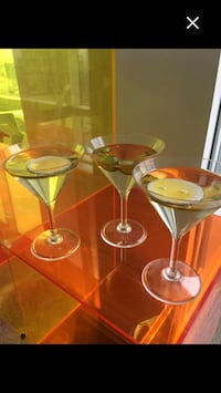 Martini glasses, for display, acrylic Lucite, realistic retro won't spill!