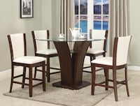 New round glass top white color 5pc dining set College Park