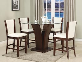 New round glass top white color 5pc dining set