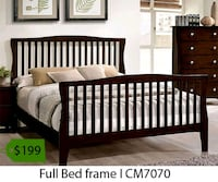 brown wooden bed frame with text overlay 2261 mi