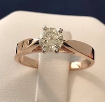 14k rose gold .52ct. diamond solitaire engagement ring *Appraised at $
