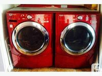 two red-and-silver front load washing machine