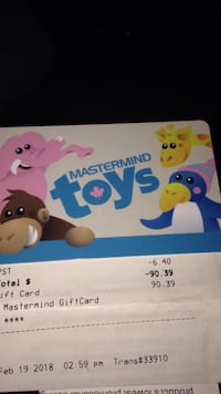 giftcard for $90 mastermind toys