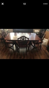 rectangular black wooden table with six chairs dining set Temecula, 92591