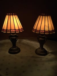 Two black-and-white table lamps 141 mi
