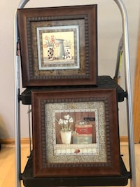 Two brown wooden framed art pieces. West Des Moines, 50265