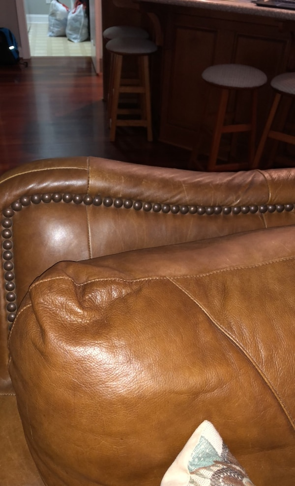Used Solid Leather Living Room Set Nailhead Trim Great