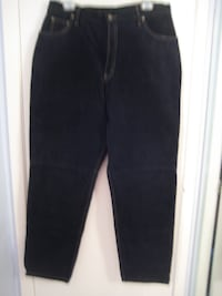 Suede Dark Navy Slacks - lined and nicely stitched, Size 16