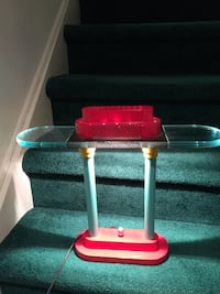 Red and grey glass lamp