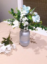 Silver and Blue Centerpieces