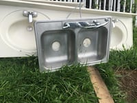 stainless steel twin sink with faucet
