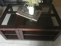 rectangular brown wooden framed glass top coffee table Toronto, M9L 1K9