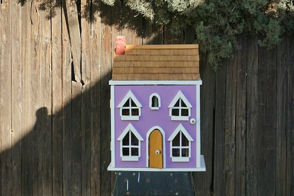 purple, white, and brown doll house